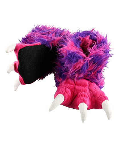 Lazy One Animal Paw Slippers for Kids and Adults, Fun Costume for Kids, Cozy Furry Slippers (Pink Monster, X-Large)