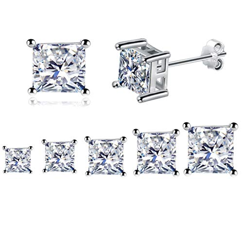 925 Sterling Silver Post Stud Earrings, Silver Stud Earrings for Women with AAAAA CZ, 5 Pairs Princess Cut Cubic Zirconia Studs Small Cartilage Sleepers Hypoallergenic Earrings for Girls(3/4/5/6/7mm)