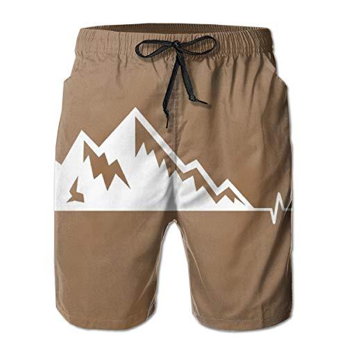 Mens 100% Polyester Mountain Bike Heartbeat Swim Trunks, Fashion Board Shorts with Pockets White
