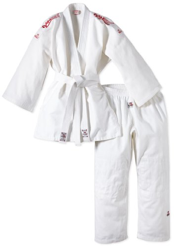 DanRho Judogi Yamanashi mit Schulterstreifen, Bianco (Weiß), 170 cm