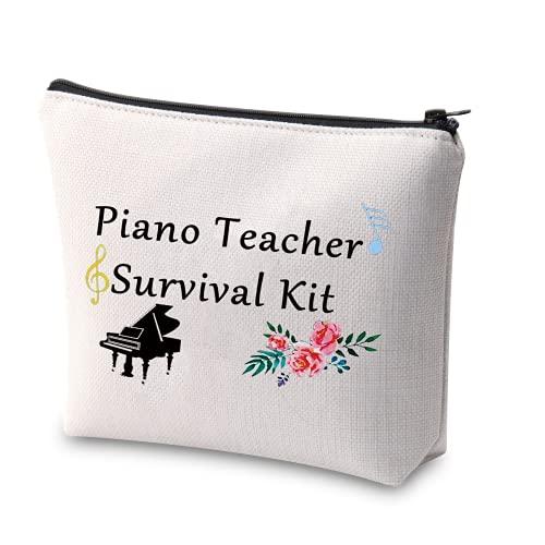 XYANFA Piano Teacher Survival Kit Makeup Bag Piano Teacher Gift Music Note Makeup Bag Music Teacher Piano Recital gift Congrats Grad Piano Teacher Appreciation Gift (beige)