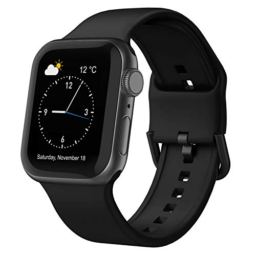 Adepoy Compatible with Apple Watch Bands 44mm 42mm, Soft Silicone Sport Wristbands Replacement Strap with Classic Clasp for iWatch Series SE 6 5 4 3 2 1 for Women Men, Black 42/44mm