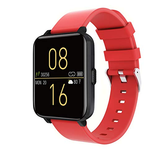 Kalakate Smart Watch for Men Women, Fitness Tracker with IP68 Waterproof for Android iOS Phone, Smartwatch with 1.54' Touch Screen, Pedometer, Heart Rate, Sleep Monitoring, Weather Forecast (Red)