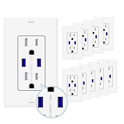 GUKIBO 5.0A 10 Pack USB Outlets Receptacles, Electrical Outlet with USB A Ports, 15A 125V Duplex Receptacle Power Outlet with USB Charger