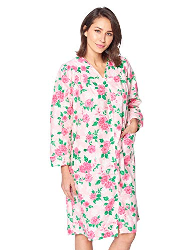 Casual Nights Women's Floral Snap Front Flannel Duster Long Sleeve Lounger Dress - Pink Floral - XX-Large