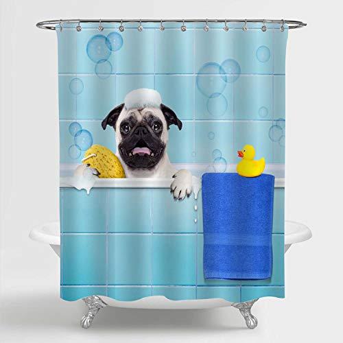 Duschvorhang, Mops-H& in einer Badewanne, mit gelber Kunststoff-Ente & Handtuch, Kinder-Badezimmerdekoration, Polyestergewebe, wasserdicht, schimmelresistent, 183 x 198 cm, inklusive Haken, blau
