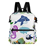 MALPLENA Dibujos animados Sea Life Seahorse Octopus Fish School Bag Daypack Senderismo Mochila