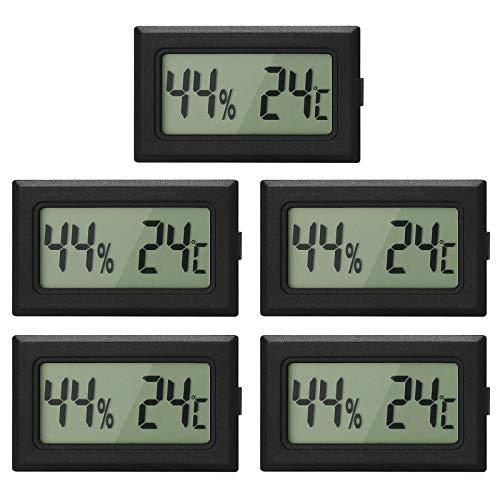 Topcloud Digitales LCD-Hygrometer-Thermometer, Mini-Digital-Temperaturmesser Feuchtigkeitsmesser für Gewächshausautos Home Office, Schwarz (5pack)