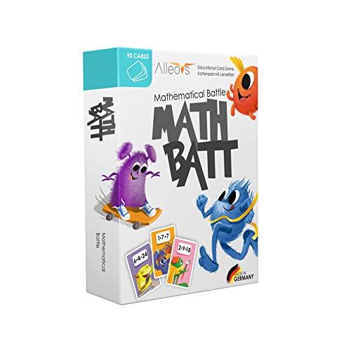 ALLEOVS® Math-Batt Mathematik - Lernspiel für Kinder ab 7 Jahren - Einmaleins Spiel mit 90 Lernkarten - Kartenspiel für die ganze Familie - Kinderspiel für das 1x1 Lernen