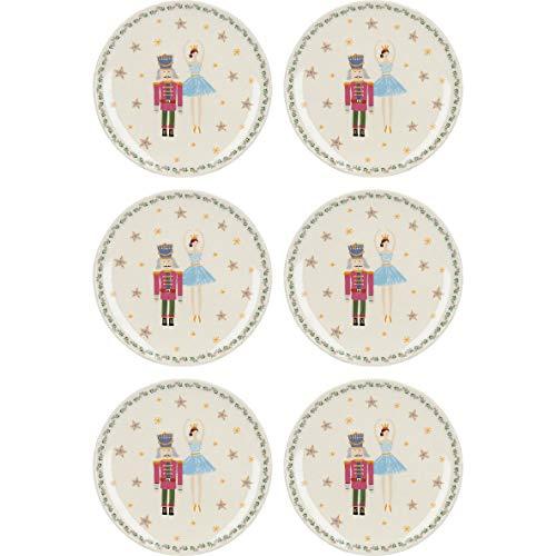 KitchenCraft - Juego de platos de cerámica, diseño navideño, cerámica, 17 cm, 6 Pieces