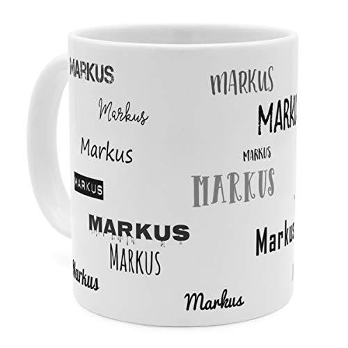 printplanet Tasse mit Namen Markus - Motiv Schriftarten Sammlung - Namenstasse, Kaffeebecher, Mug, Becher, Kaffeetasse - Farbe Weiß