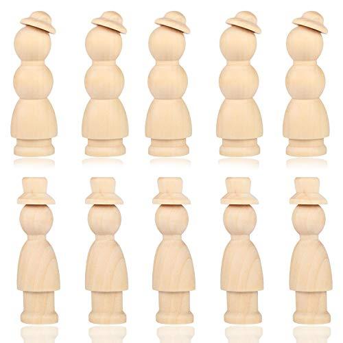 VABNEER Figuren Holzfiguren 10 Stück Holzfiguren Holz Holzfiguren zum Bemalen Figuren Familie Holz zum DIY Holzfiguren Hochzeit Geburtstag Dekoration Bemalen Basteln Holz