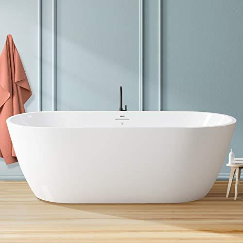 FerdY Bali 67' Acrylic Freestanding Bathtub, Gracefully Shaped Freestanding Soaking Bathtub with Brushed Nickel Drain & Minimalist Linear Design Overflow, Glossy White, cUPC Certified, 02538