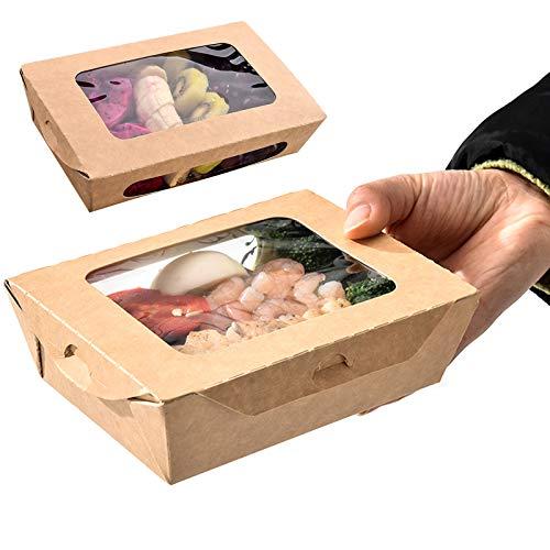 Lebensmittelbox Mit Sichtfenster, Kraftpapierbox Für Lebensmittel, Einwegschachteln Kraftkarton Snackboxen,100 Stück Auslaufsicher Anti-Fett Take Away Box Für Verschiedene Lebensmittel,Salate,760ml