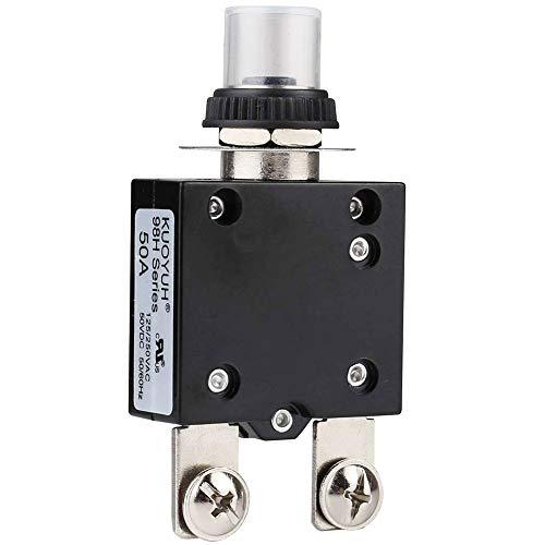 Clyxgs Thermischer Schutzschalter, 50A 125 / 250V AC 32V DC Drucktasten-Reset Thermischer Überlastschutzschalter mit Schnellanschlussklemmen und wasserdichter Tastenabdeckung 1 STÜCK