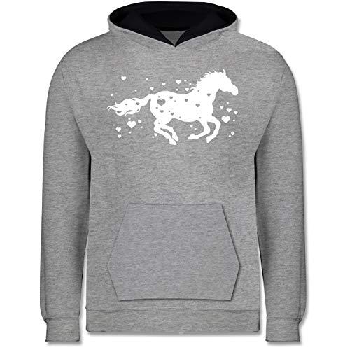 Shirtracer Tiermotive Kind - Pferd mit Herzen - 116 (5/6 Jahre) - Grau meliert/Navy Blau - Pferde 140 - JH003K - Kinder Kontrast Hoodie