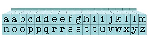 Contact USA Small 36-Piece American Typewriter Pegz Connectable Lowerase Alphabet Stamp Set, Pool Blue