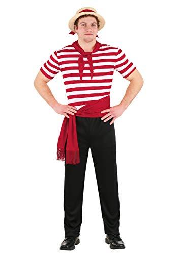 Disfraz de gondolier de Venecia para adulto - Rojo - X-Large