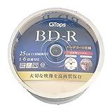 【 G-TOPS 】 BD-R 25GB ブルーレイ ディスク 1-6倍速 ワイド ホワイトプリンタブル (ケース付き)