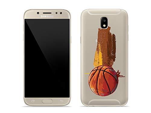 etuo Handyhülle für Samsung Galaxy J5 (2017) - Hülle Crystal Design - Basketball - Handyhülle Schutzhülle Etui Case Cover Tasche für Handy