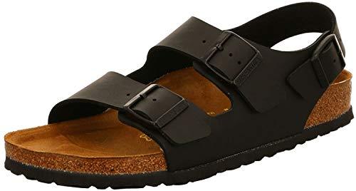 Birkenstock Milano Smooth Leather, Unisex Adults' Sandals, Black, 9.5 UK Slim (44 EU)