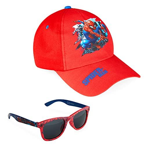 Marvel Pack de Gorra Niño y Gafas de Sol Infantiles de Spiderman y Los Vengadores, Gorra Infantil, Gafas de Sol Niño, Regalos para Niños (Rojo)