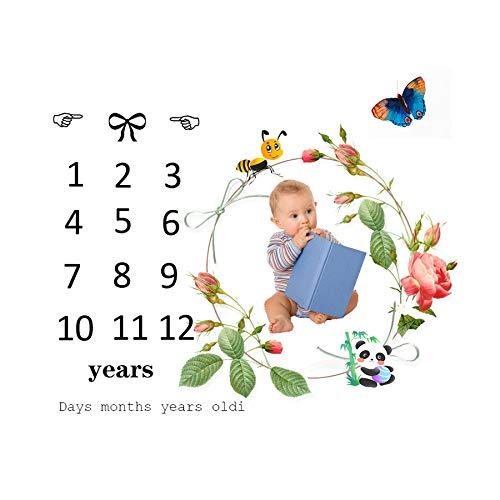 Manta de hito mensual para bebés,Accesorios de fotografía hito de la manta de bebé,manta de la foto del bebé (F)