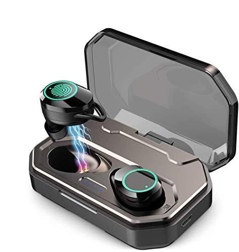ConPush Auriculares Bluetooth 5.0,Auriculares Inalámbricos Estéreo Hi-Fi Sonido IPX7 Resistentes al Agua, Control Tactil, 120 Horas Autonomía 3000mAH Estuche de Carga para iPhone Android