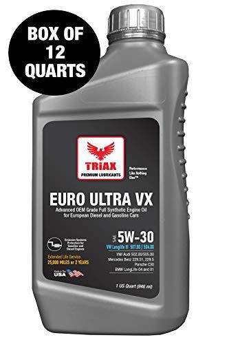 Triax Euro Ultra VX 5W-30 Full Synthetic Ester, Compatible with VW 507.00/504.00, VW Audi 502.00, 505.01, BMW LL-04, Porsche C30, ACEA C3, Mercedes 229.51, 229.5, 229.31 (12 Quart Case)