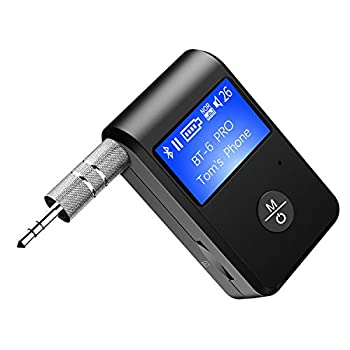 ZIIDOO Visible Bluetooth Receiver,Aux Bluetooth Adapter 5.0 with Display Screen,Portable Wireless Audio Receiver Car Kit with DSP/CVC Noise Cancellation and TF Card Socket,for Car Home Stereo