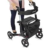 Vive Rollator Walker - Folding 4 Wheel Medical Rolling Walker with Seat & Bag - Mobility Aid for Adult, Senior, Elderly & Handicap - Aluminum Transport Chair (Black)