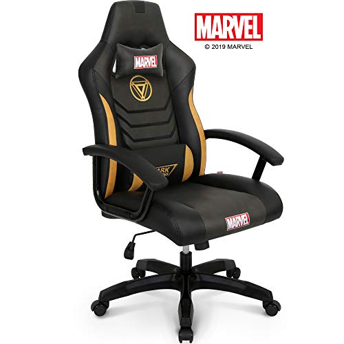 Marvel Avengers Iron Man Big & Wide Heavy Duty 330 lbs Gaming Chair Office Chair Computer Racing Desk Chair Black Gold - Endgame & Infinity War Series, Marvel Legends chair gaming
