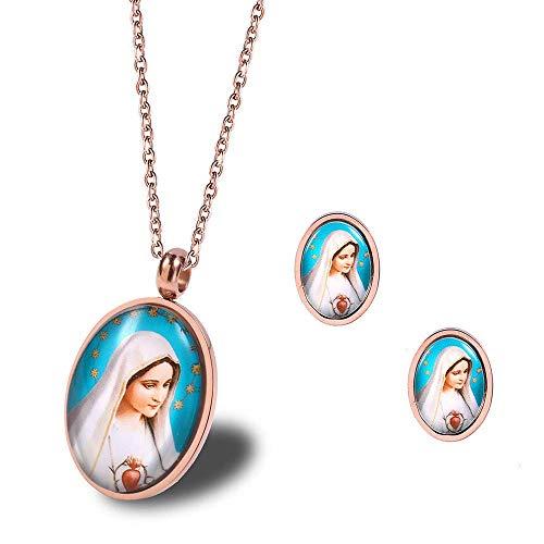 Gepersonaliseerde accessoires, halskettingen, roestvrijstalen hartje gezegende sieraden sets Religieuze kerk Mama Mary ketting en oorbellen Set meer, Thumby