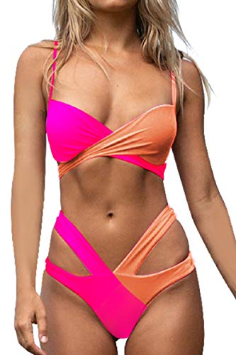 Tuopuda - Conjunto de bikini para mujer, sexy, vendaje contraste, bañador con almohadilla de pecho, copas acolchadas, cintura baja y fondo de dos piezas Rojo fluorescente M