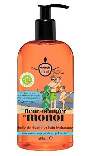 ENERGIE FRUIT - Huile de douche et bain hydratante fleur d'oranger et monoï - la pompe de 500 ml - (pour la quantité plus que 1 nous vous remboursons le port supplémentaire)
