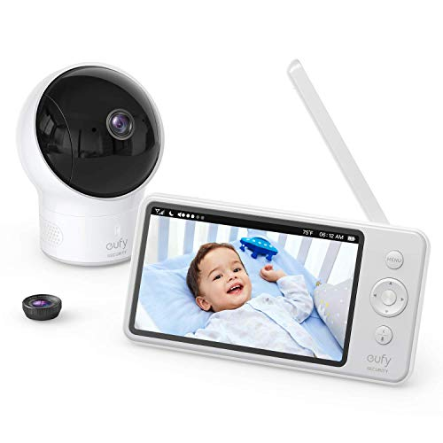 Video Baby Monitor, eufy Security Video Baby Monitor with Camera and Audio, 720p HD Resolution, Ideal for New Moms, 5 inch Display, 110° Wide-Angle Lens Included, Night Vision(Renewed)