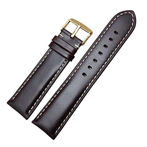 Cuero auténtico Correas de Reloj Pulsera Hombres Mujeres 18-24mm Wiht Reloj de Plata de la Vendimia de la Correa de Banda Pulido Hebilla, Oro Oscuro marrón, 18mm