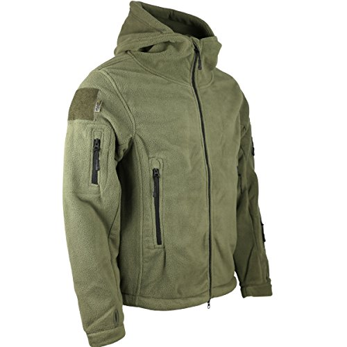 Kombat UK Felpa con Cappuccio in Pile Recon tattico, da Uomo, Uomo, Recon Tactical, Verde Oliva, 3XL