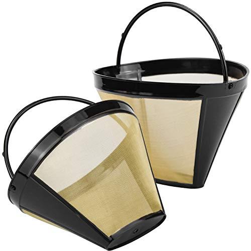 DESON - Juego de 2 filtros de café reutilizables con tejido de acero inoxidable, tamaño 4, para 8-12 tazas de café, plástico negro