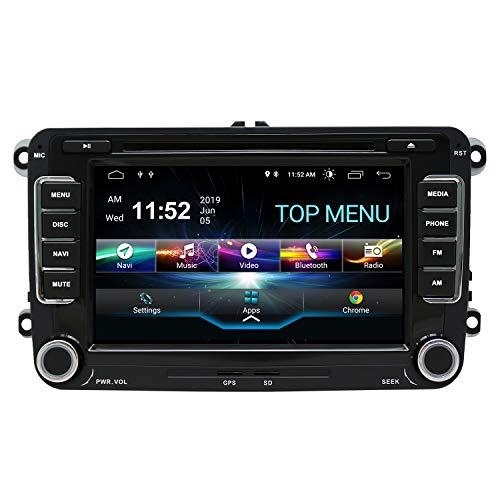 SWTNVIN Android 10.0 Auto Audio Stereo Kopfeinheit Fits für VW canddy Golf Tiguan Skoda Octavia Leon DVD Player Radio 7 Zoll HD Touchscreen GPS Navigation mit Bluetooth WiFi Lenkradsteuerung 2GB+16GB