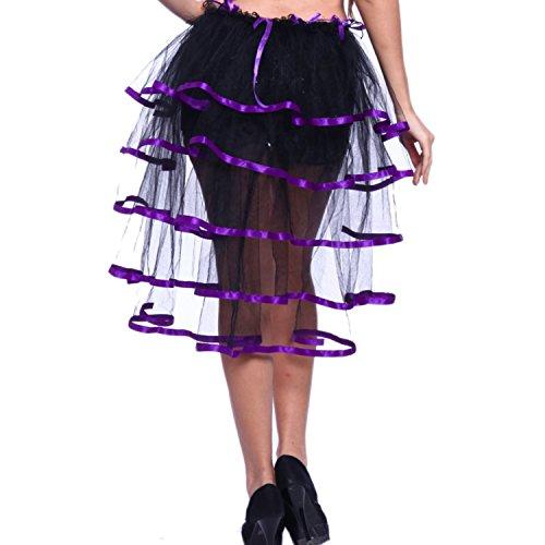 Landove Gonna Tutu Donna Vintage Tutu Danza Abito Ballerina Ballo Balletto Organza Pizzo Layered Arcobaleno Gonna Irregolare Asimmetrica Vestito Principessa per Halloween Carnevale Natale Cosplay