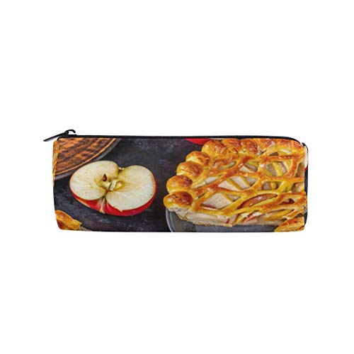 Lawenp Pastry Pie Apples Pizza Bleistiftetuihalter für Kid Boys Girl Student Pen Bag Beutel School Round Makeup Bag