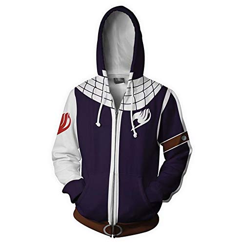 Fairy Tail Déguisement Sweater à Capuche Sweat Pullover Hoodie Homme avec Zipper (A, S)