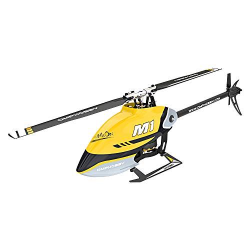 OMPHOBBY M1 Helicópteros RC Motores duales sin escobillas Mini Helicóptero RC para Adultos Helicópteros de Control Remoto 3D de accionamiento Directo-BNF (Futaba S-FHSS Protocolo Racing Yellow)
