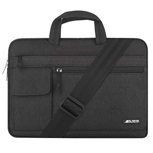 MOSISO Laptop Schultertasche Kompatibel mit 17-17,3 Zoll MacBook/Notebook/Chromebook/Tablet, Polyester Flapover Messenger Aktentasche Handtasche, Schwarz