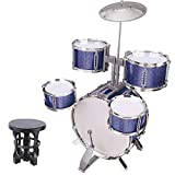 LuoKe Rock Band Jazz Drum Set Instrumentos de percusión Kit de batería Música Juguetes educativos Festival Regalo con 5 piezas de batería y taburete para niños Niños
