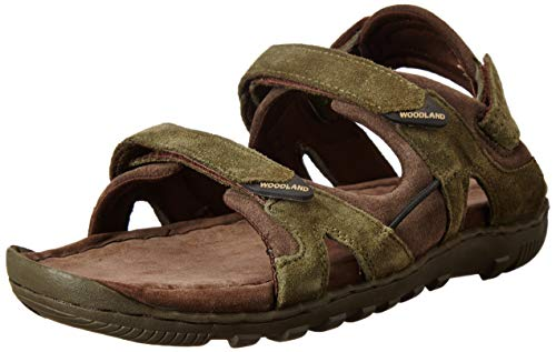 Woodland Men's Olive Green Leather Sandal-7 UK (41 EU) (GD 0491108WSA)