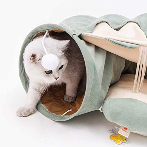 Cats Tunnel bed with pillows tube plush toys, cats tube, foldable two-way pet tunnel, soft, removable Kitten Tunnel Toy For The Hut,Green