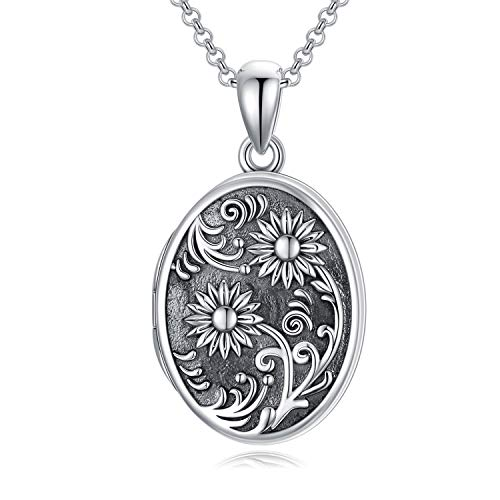 Sterling Silver Sunflower Locket Necklace That Holds Pictures Oval Locket Pendant, You are my Sunshine Necklaces,Sunflower Gift for Women Girls (Locket & Photos)