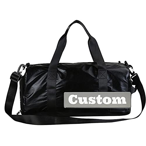 Nombre personalizado acolchado grande lona lona lienzo lona bolso plegable grande fin de semana (Color : Black, Size : One size)